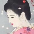 stampa giapponese viso di gheisha