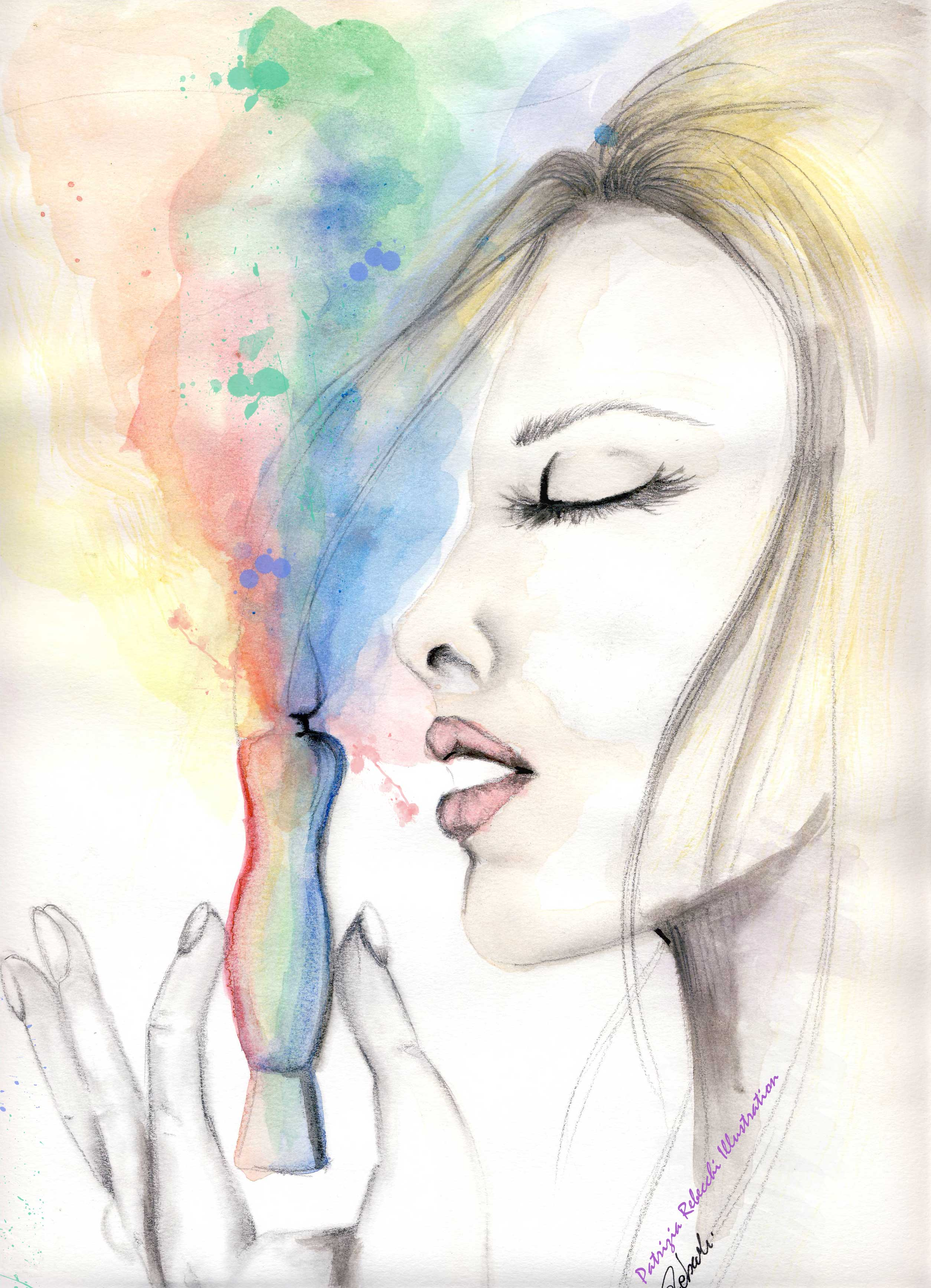 acquarello con viso donna che inala un profumo